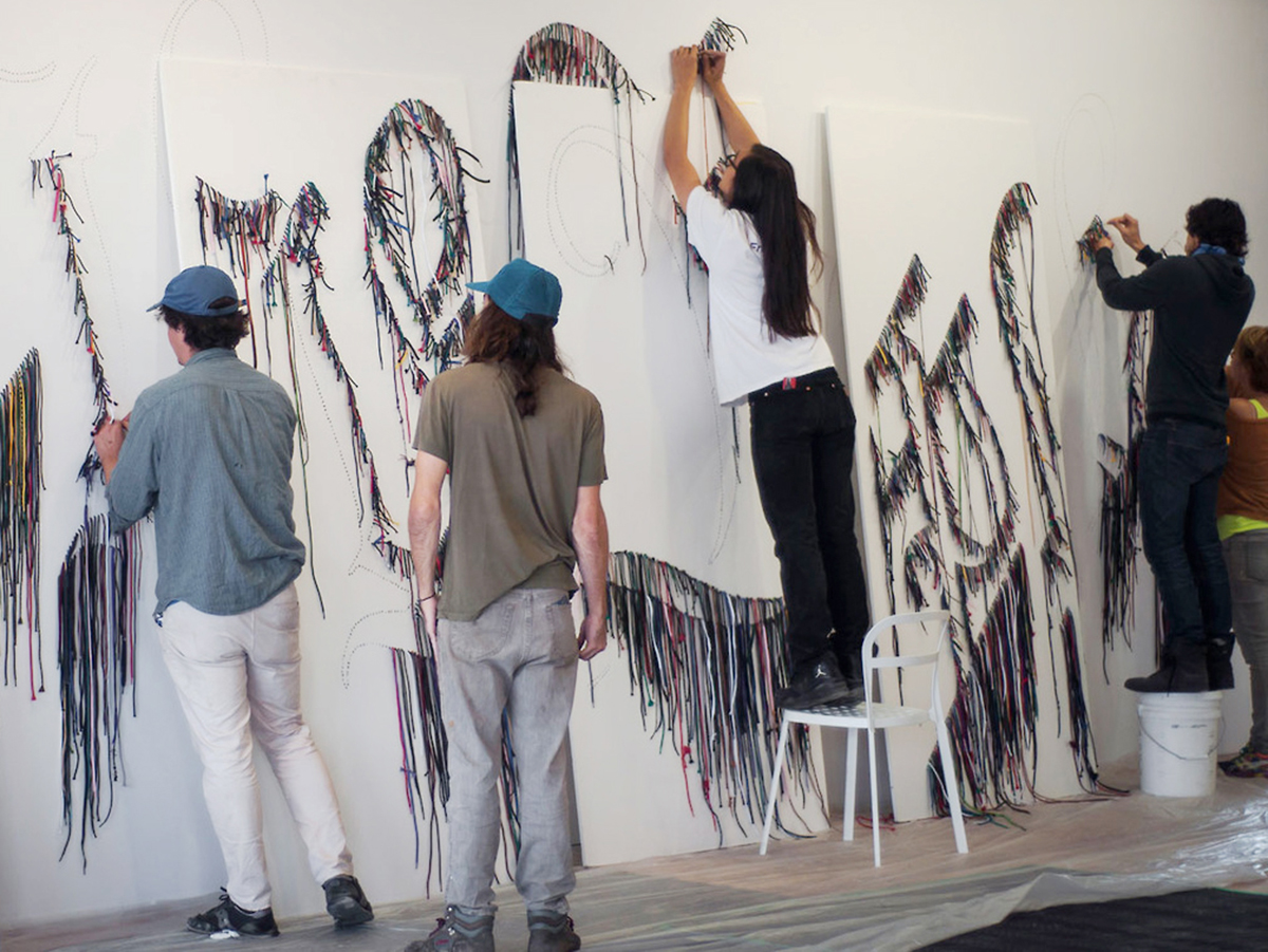"Installation of Nari Ward's ""We the People,"" October 2013."