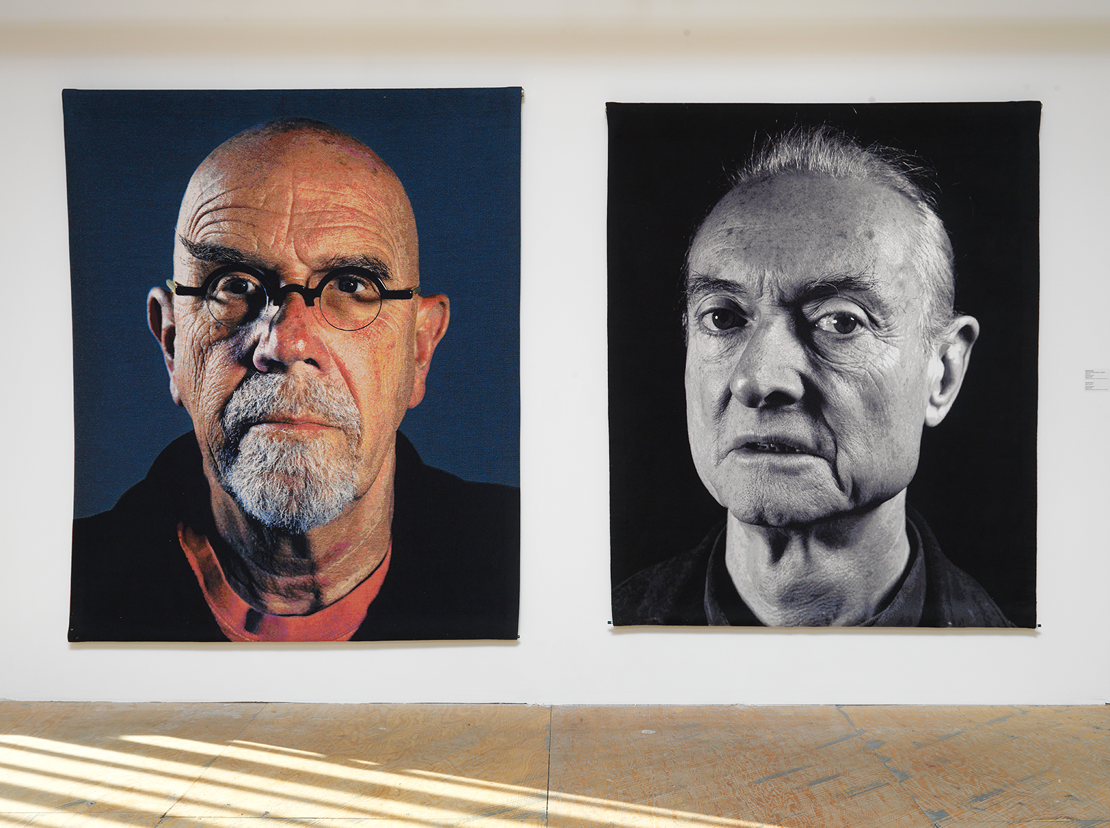"Chuck Close, L to R: ""Self Portrait (Pink T-shirt), 2013. ""Roy,"" 2011."