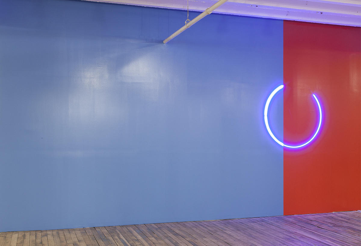 "Stephen Antonakos, ""Blue Incomplete Circle on Blue and Red Wall,"" 1978."