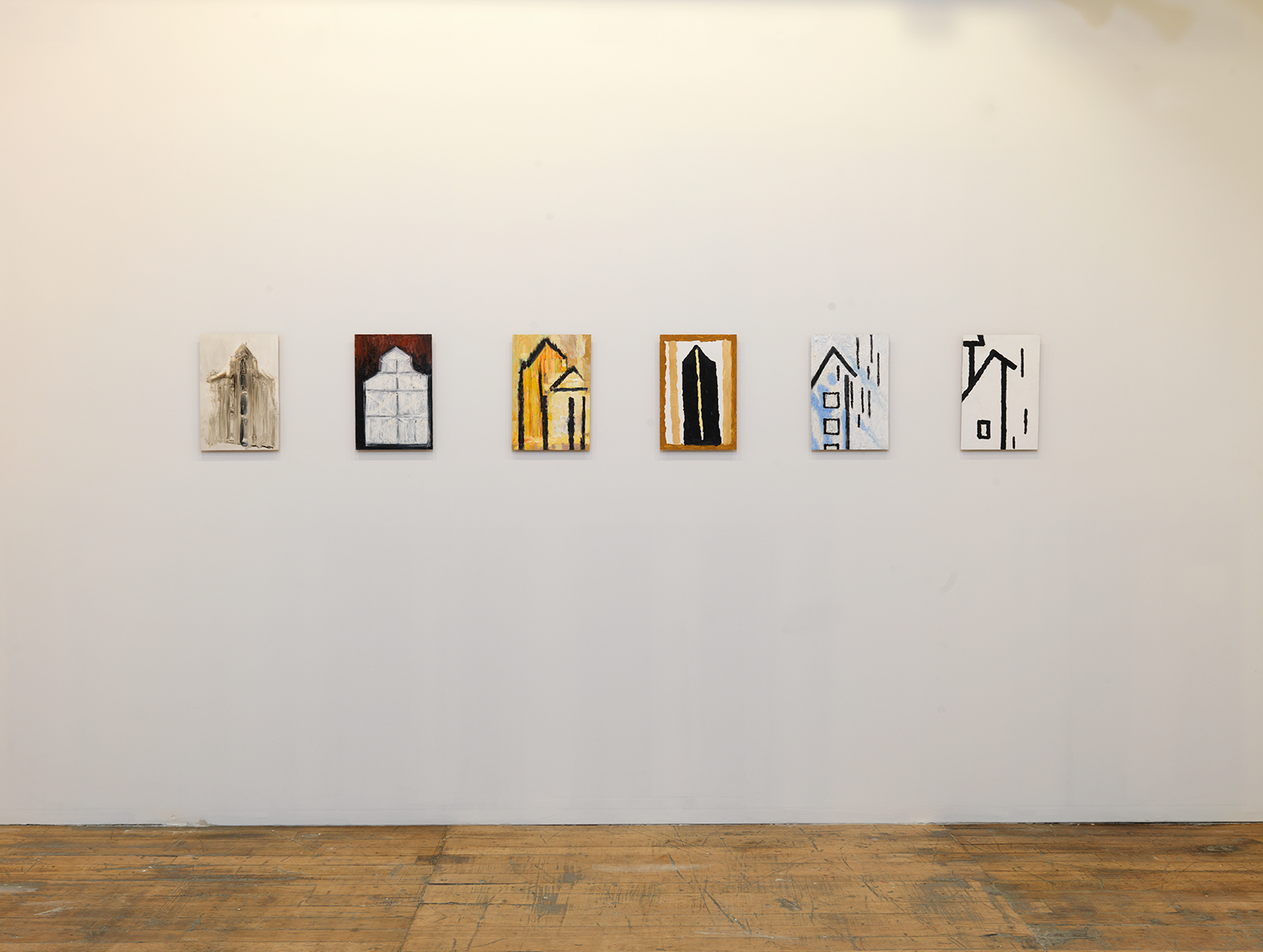 "Martha Diamond, ""Church I"", ""Church II,"" ""Church III,"" ""Church IV,"" ""Blue,"" ""White,"" (all 2010)."