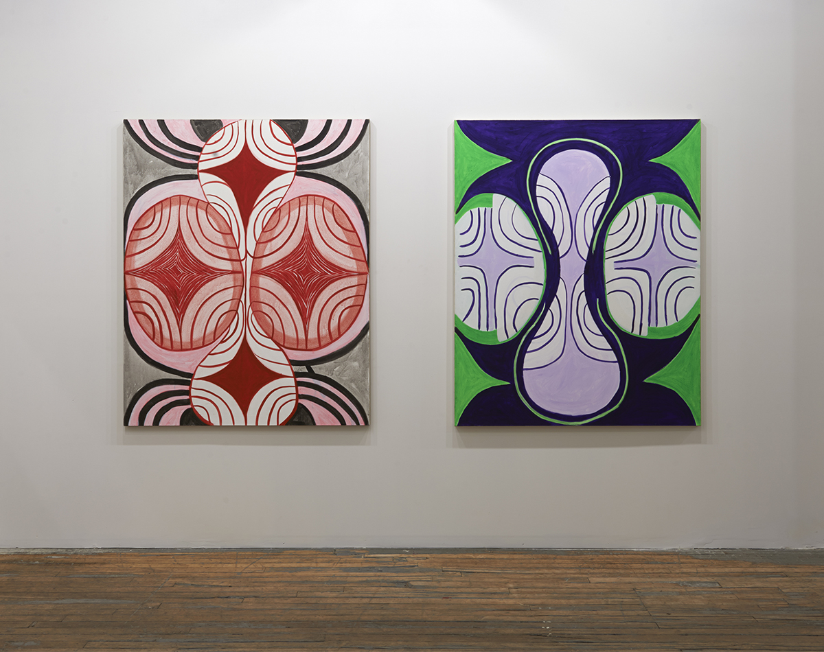 "Margrit Lewczuk, ""Connie's Dream,"" 2006. ""Green & Purple,"" 2008."