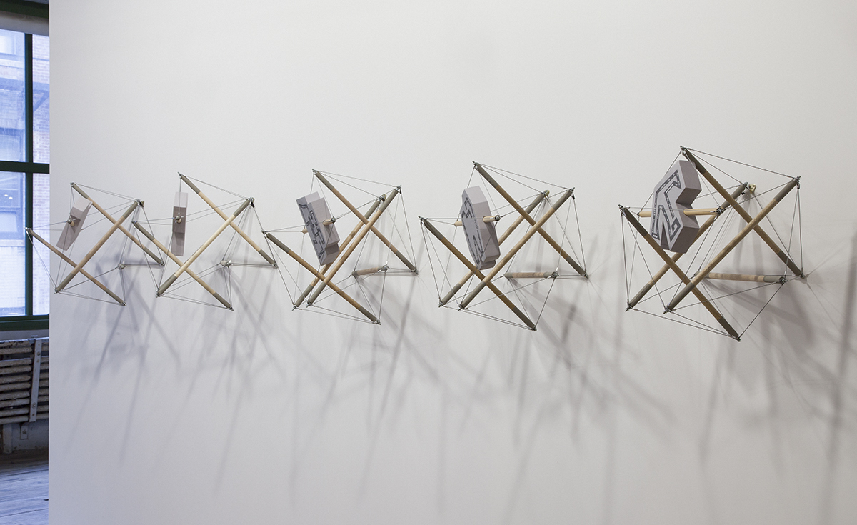 "Mike Metz, L to R: ""snared-trapped elephant-opera glasses,"" ""snared-trapped pipe-axe,"" ""snared-trapped binoculars-toothache,"" ""snared-trapped vest-rabbit,"" ""snared-trapped high chair-Pegasus,"" All 2011."