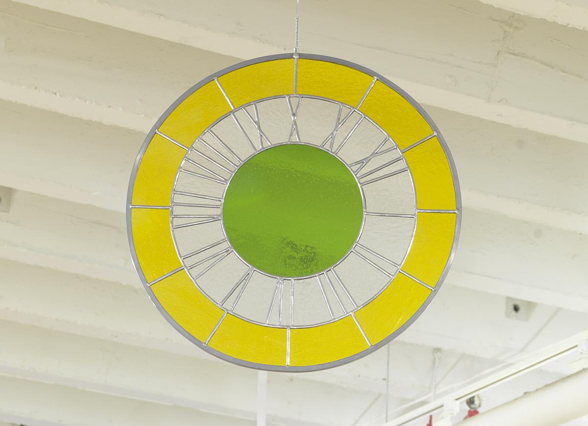 """Ugo Rondinone, """"Yellow white green clock,"""" 2012."""