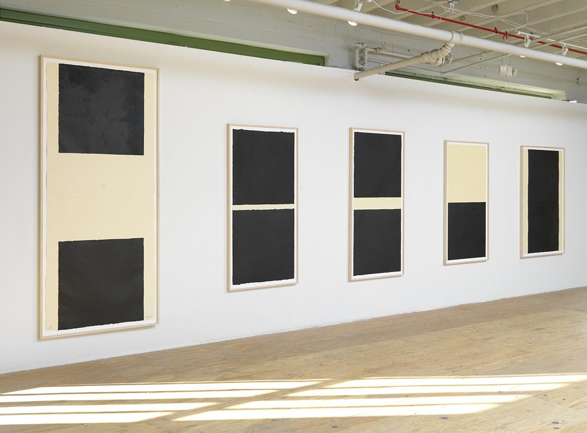 """Richard Serra, L to R: """"W.M.,"""" 1995. """"W.M. III,"""" 1996. """"W.M. II,"""" 1995. """"W.M. IV,"""" 1996. """"W.M. V,"""" 1996."""