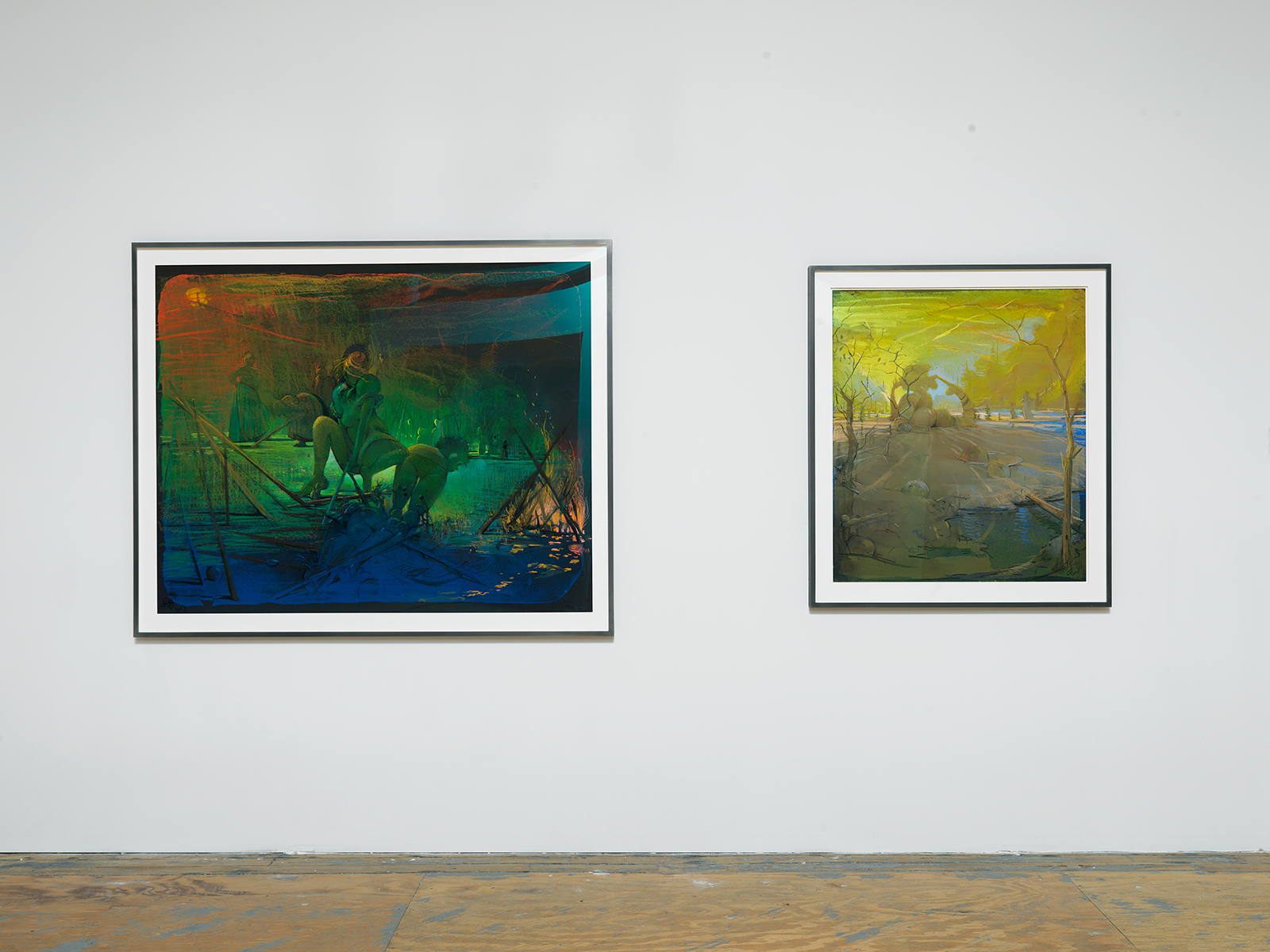 "Lisa Yuskavage, ""A No Man's Land 2,"" 2013.  ""Neon Sunset,"" 2013."